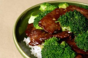 A Chinese Beef and Broccoli dish over rice