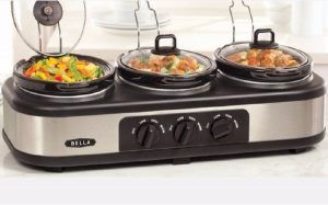 The Bella Triple Slow Cooker in action