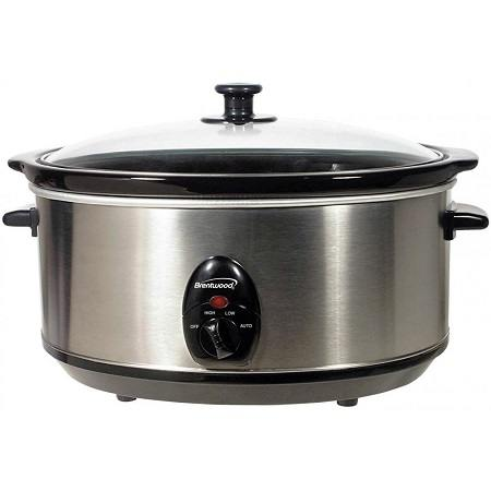 A Stainless Steel Brentwood 6.5 Quart Slow Cooker