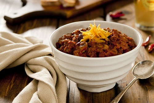 Served Roasted Beef Chili