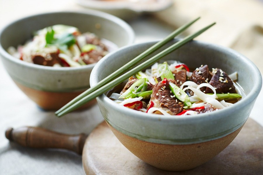 Chinese Pork in Bowls and chop Sticks
