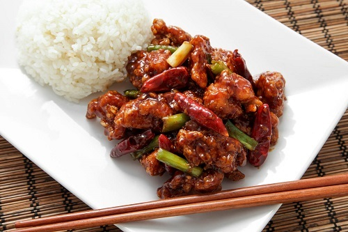 General Tso's Chicken with Rice on Plate
