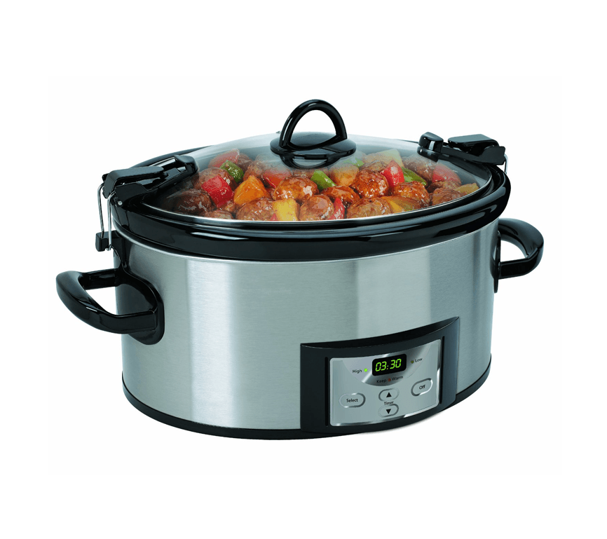 A slow cooker preparing food in it