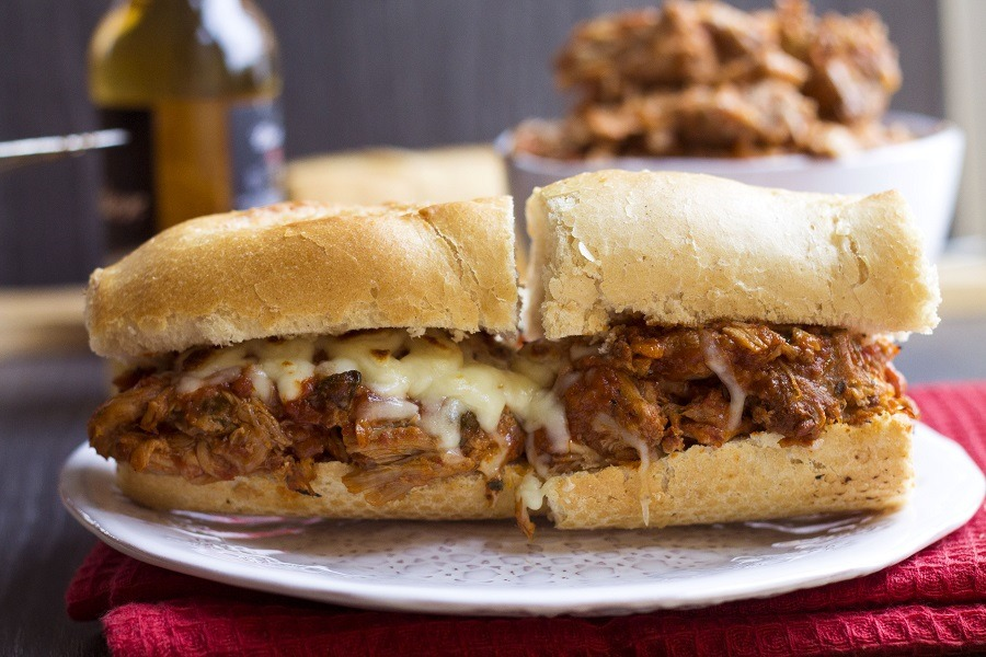 Italian Pullued Pork in Sandwich on Plate