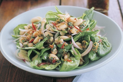 1. Lemony Bean and Spinach Salad