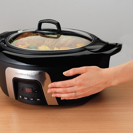 Trying Temperature on Slow Cooker with Hand