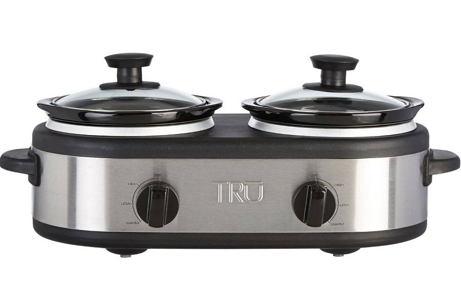 A Stainless Steel Tru Dual Crock Buffet Slow Cooker